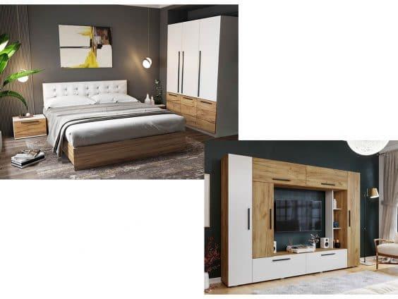 Pachet Dormitor Timea 4 piese Tapitat Alb + Living Picolo