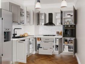 Set Bucatarie Cucina pe colt - Gri Structo