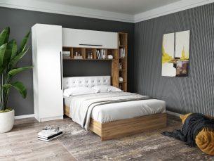 Set Dormitor Timea 2.33m cu pat tapitat Alb incadrat