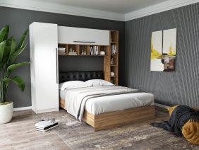 Set Dormitor Timea 2.33m cu pat tapitat Negru incadrat