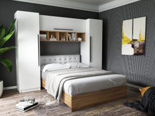 Set Dormitor Timea 2.56m cu pat tapitat incadrat