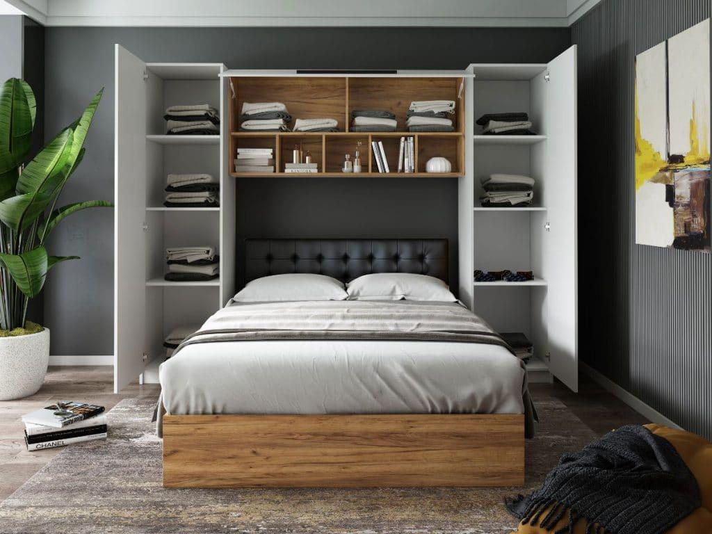 Set Dormitor Timea 2.56m cu pat tapitat negru incadrat