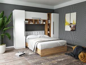 Set Dormitor Timea 2.84m cu pat tapitat Alb incadrat