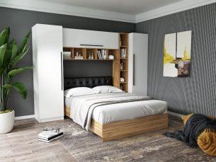 Set Dormitor Timea 2.84m cu pat tapitat Negru incadrat