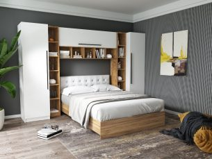 Set Dormitor Timea 3.12m cu pat tapitat Alb incadrat