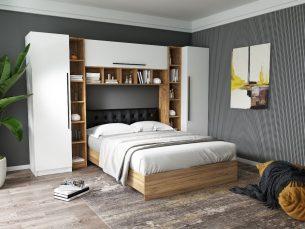 Set Dormitor Timea 3.12m cu pat tapitat Negru incadrat