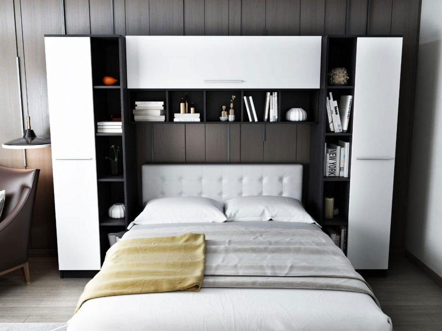 Set Dormitor Mario 2.87m cu pat tapitat alb incadrat