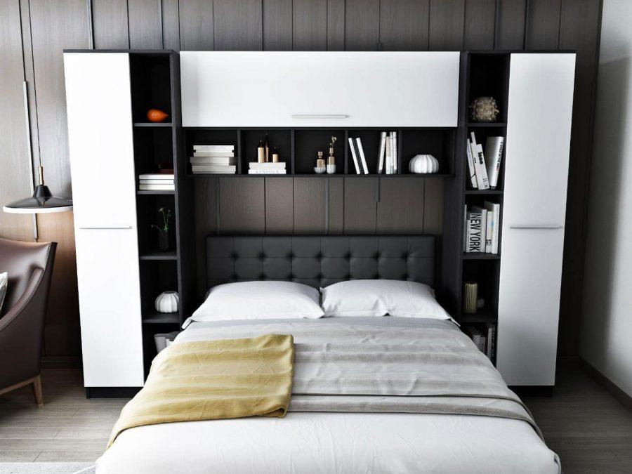Set Dormitor Mario 2.87m cu pat tapitat negru incadrat