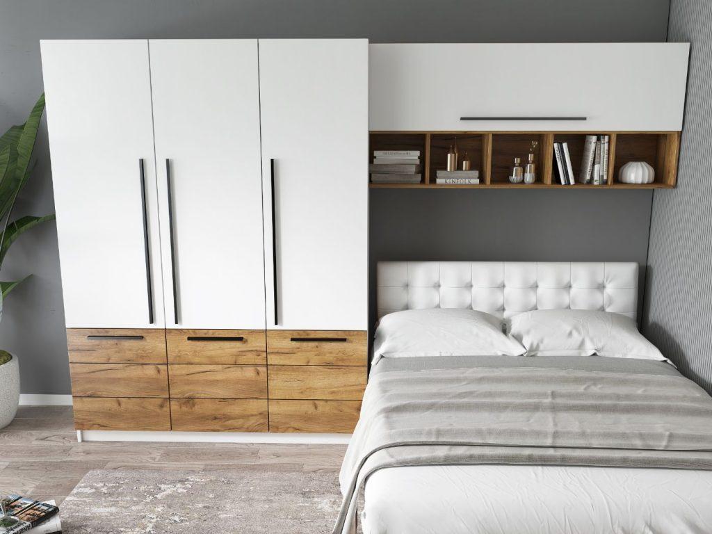 Set Dormitor Timea 3.05m cu pat tapitat Alb incadrat