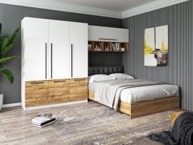 Set Dormitor Timea 3.05m cu pat tapitat Negru incadrat