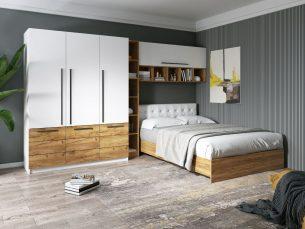 Set Dormitor Timea 3.33m cu pat tapitat Alb incadrat