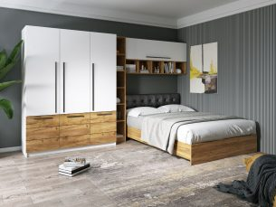 Set Dormitor Timea 3.33m cu pat tapitat Negru incadrat