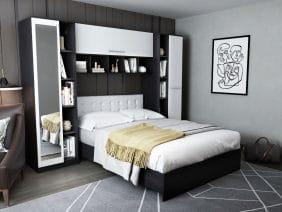 Dormitor Mario 2.87m pat incadrat si oglinda