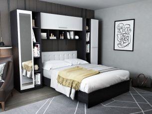 Dormitor Mario 2.87m pat incadrat si oglinda tapitat alb