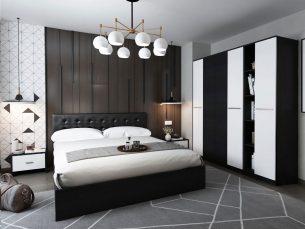 Set Dormitor Mario 4U 5 piese tapitat negru