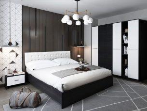 Set Dormitor Mario 4U 5 piese tapitat alb