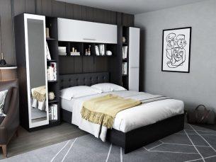 Dormitor Mario 2.87m pat incadrat si oglinda tapitat negru
