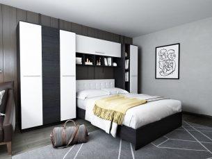 Dormitor Mario 3.44m pat incadrat tapitat alb