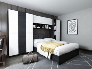 Dormitor Mario 3.44m pat incadrat tapitat negru
