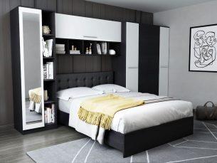 Dormitor Mario 3.85m pat incadrat tapitat negru