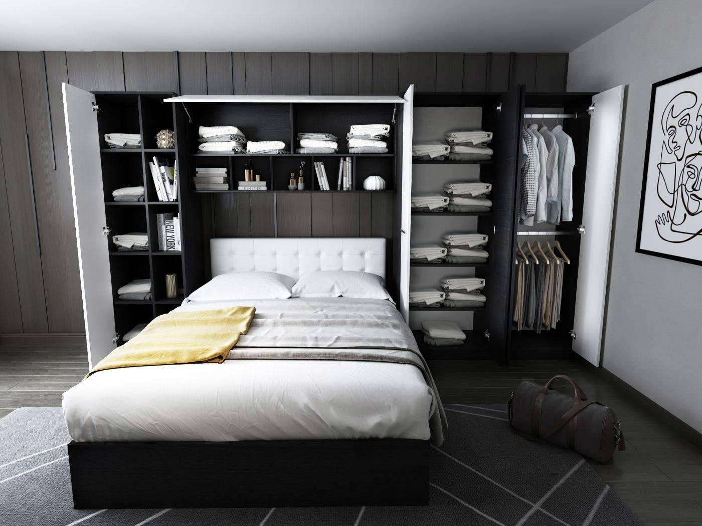 Dormitor Mario 3.85m pat incadrat tapitat alb