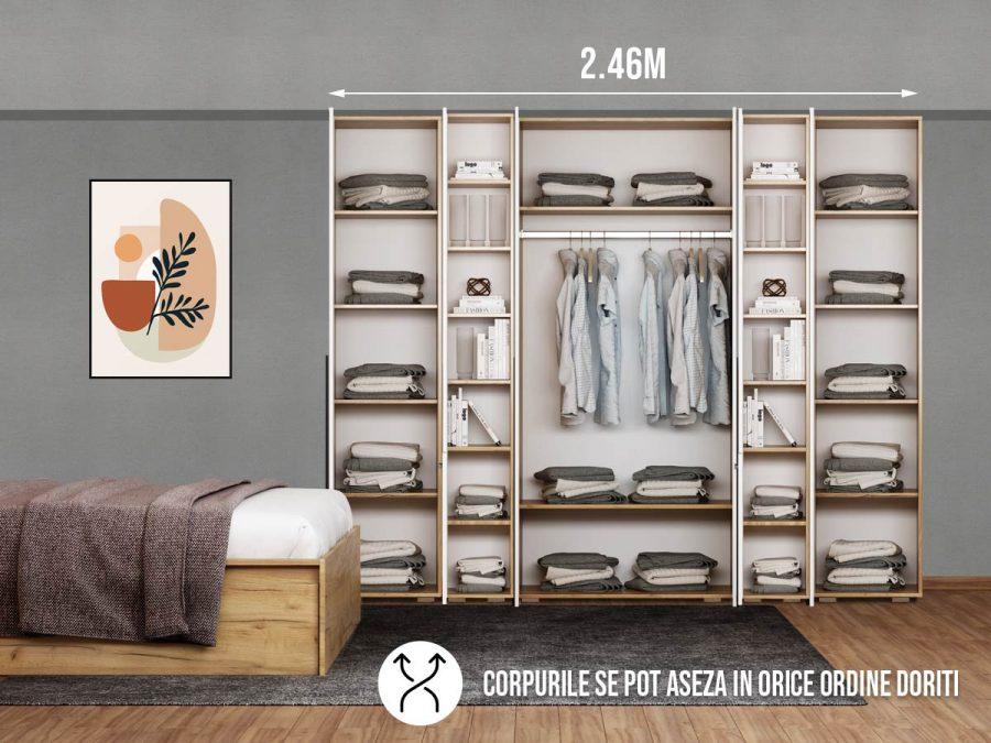 Dressing 2.46m / Dulap Dormitor Fox cu oglinda