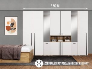 Dressing 2.92m / Dulap Dormitor Fox cu oglinda