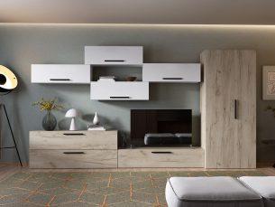 Living Pati 015 - Mobila Sufragerie Alb + Stejar