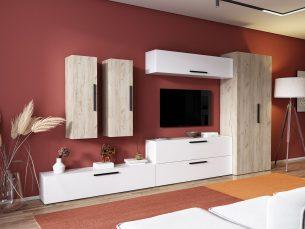 Living Pati 018 - Mobila Sufragerie Alb + Stejar