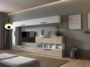 Living Pati 012 - Mobila Sufragerie Stejar + Alb