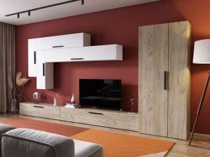 Living Pati 029 - Mobila Sufragerie Stejar + Alb