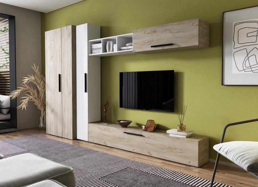 Living Pati 080 - Mobila Sufragerie Stejar + Alb