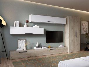 Living Pati 003 - Mobila Sufragerie Alba + Stejar