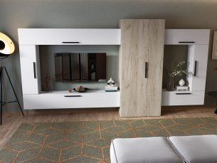 Living Pati 008 - Mobila Sufragerie Alb + Stejar