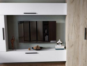 Living Pati 009 - Mobila Sufragerie Alb + Stejar
