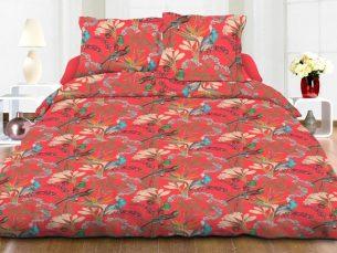 Lenjerie de pat rosie - cearsaf pilota, cearsaf pat, 2 fete perna