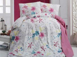Lenjerie de pat alb + roz + turcoaz - cearsaf pilota, cearsaf pat, 2 fete perna
