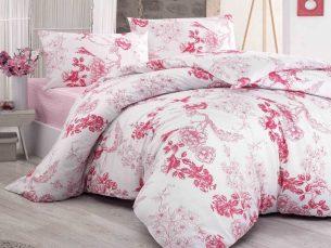 Lenjerie de pat alb + roz - cearsaf pilota, cearsaf pat, 2 fete perna