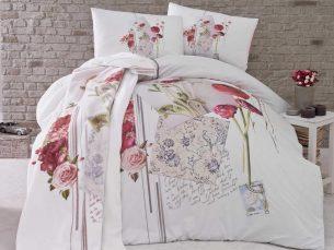 Lenjerie de pat alb + flori/colaj, cearsaf pilota, 2 fete perna