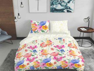 Lenjerie de pat crem + flori - cearsaf pilota, cearsaf pat, 2 fete perna