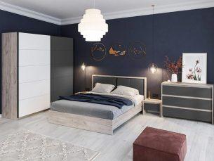 Set dormitor Indigo - 02 Gri + Stejar + Alb