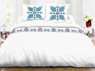 Lenjerie de pat traditional albastru - cearsaf pilota, cearsaf pat, 2 fete perna