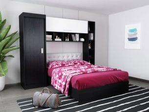 Set Dormitor Bingo 2.27m cu pat tapitat Alb incadrat