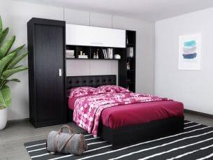 Set Dormitor Bingo 2.27m cu pat tapitat Negru incadrat