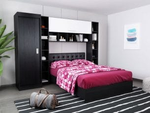 Set Dormitor Bingo 2.55m cu pat tapitat negru incadrat