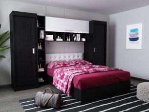 Set Dormitor Bingo 2.71m cu pat tapitat Alb incadrat