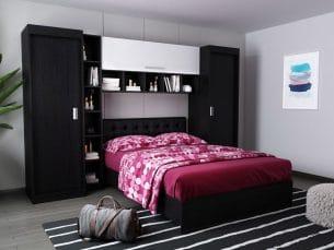 Set Dormitor Bingo 2.71m cu pat tapitat Negru incadrat