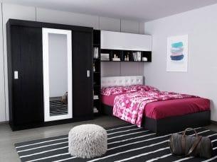 Set Dormitor Bingo 3.35m cu pat tapitat Alb incadrat