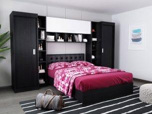 Set Dormitor Bingo 2.99m cu pat tapitat Negru incadrat