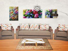 Bianca set canapea și fotolii cu ornamente